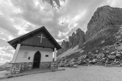 Three peaks Lavaredo chapel Stock Photo