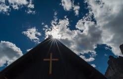 Three peaks Lavaredo chapel royalty free stock photography
