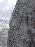 Three peaks of Lavaredo - descending ovest peak. Climbing and walking Royalty Free Stock Photography