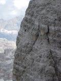 Three peaks of Lavaredo - descending ovest peak. Climbing and walking Royalty Free Stock Photography