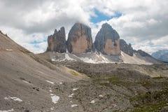 Three Peaks of Lavaredo, Dolomites mountain Stock Images