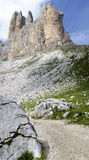 Three peaks of Lavaredo with hiking Royalty Free Stock Photo