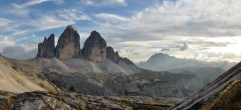 Three peaks Lavaredo panorama royalty free stock photos