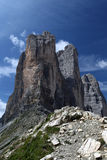 Three peaks of lavaredo side Royalty Free Stock Images