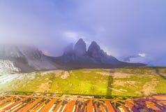Three Peaks of Lavaredo at summer sunset, Italian Dolomites Royalty Free Stock Images