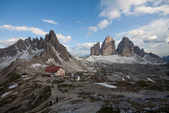 Three Peaks, Mount Paterno and refuge Locatelli Royalty Free Stock Photo
