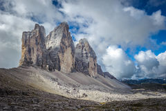 Three peaks. National Park Tre Cime di Lavaredo. Dolomites Royalty Free Stock Photography