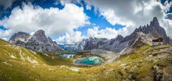 Three peaks. National Park Tre Cime di Lavaredo. Dolomites Stock Photos