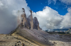 Three peaks. National Park Tre Cime di Lavaredo. Dolomites Royalty Free Stock Image
