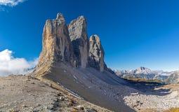Three Peaks north side. Dolomites, South Tyrol stock photos