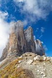 Three Peaks north side. Dolomites, South Tyrol royalty free stock images