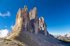 Three Peaks north side. Dolomites, South Tyrol royalty free stock photos