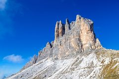 Three Peaks south side. Dolomites, South Tyrol stock photography