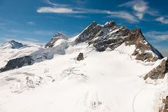 Three peaks in Swiss Alps. The Jungfrau(Mountain) in Switzerland Royalty Free Stock Images
