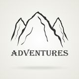 The three peaks vintage mountains. Adventure labels. Royalty Free Stock Photography