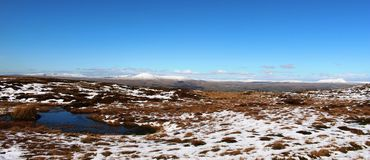 Three Peaks of Yorkshire in snow in winter. Royalty Free Stock Photography