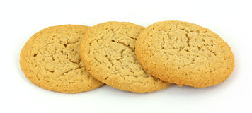 Three peanut butter cookies Royalty Free Stock Photos