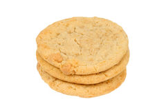 Three Peanut Butter Cookies with White Background Stock Photos