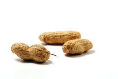 Three Peanuts. On white background stock image