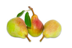 Three pear Bartlett on a light background Royalty Free Stock Photography