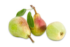 Three pear Bartlett on a light background Royalty Free Stock Photo