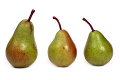 Three pears. Three green pears in a row isolated on white Stock Image