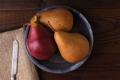 Three Pears in Blue Plate Royalty Free Stock Photos
