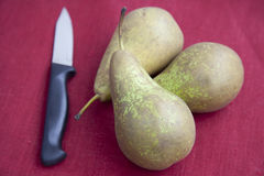 Three Pears and Knife Royalty Free Stock Images