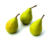 Three Pears. Studio shot of three small pears isolated on white Royalty Free Stock Photography