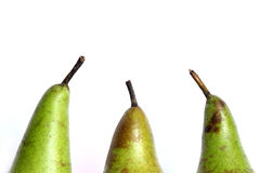 Three pears on white background Royalty Free Stock Images