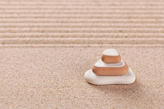 Three pebble stack zen garden Royalty Free Stock Photos