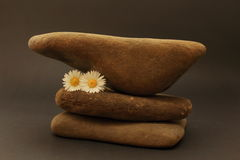 Three pebbles superimposed on each other. Decoration with stones, flowers and feather stock images