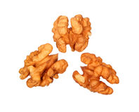 Three peeled walnuts Royalty Free Stock Photos