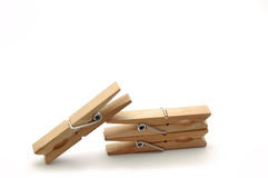 The three pegs. Two parallel pegs are supporting a third one Stock Photos