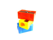 Three pencil sharpeners Royalty Free Stock Photos
