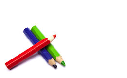 Three pencils. Isolated on white Stock Photo