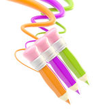 Three pencils with colorful trace path Stock Images