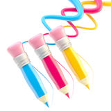 Three pencils with colorful trace path Royalty Free Stock Photography