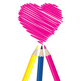 Three Pencils Drawing Heart Shape. Royalty Free Stock Images