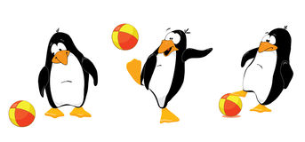 Three_penguins_with_ball Lizenzfreies Stockfoto