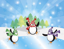 Three Penguins Ice Skate in Winter Illustration. Three Christmas Penguins Ice Skating in Ice Rink Winter Scene with Trees Snowflakes and Sun Rays Background Stock Photography