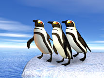 Three penguins standin on ice Stock Images