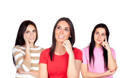 Three pensive brunette girl Royalty Free Stock Images