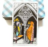 3 Three of Pentacles Tarot Card Growth Study Learning Scholarships Mentors Teamwork Apprentice Material Growth stock illustration