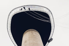 Three people abseiling from the Euromast tower, Rotterdam, the N Stock Photography