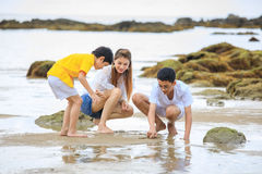 Three people Asian family, mother and sons, playing on tropical Stock Image