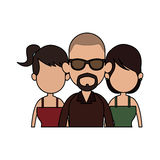 Three people cartoon  icon image. Illustration design Stock Photos