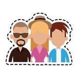 Three people cartoon  icon image. Illustration design Royalty Free Stock Photos