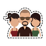 Three people cartoon  icon image. Illustration design Royalty Free Stock Photo