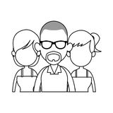 Three people cartoon icon image. Illustration design Royalty Free Stock Image